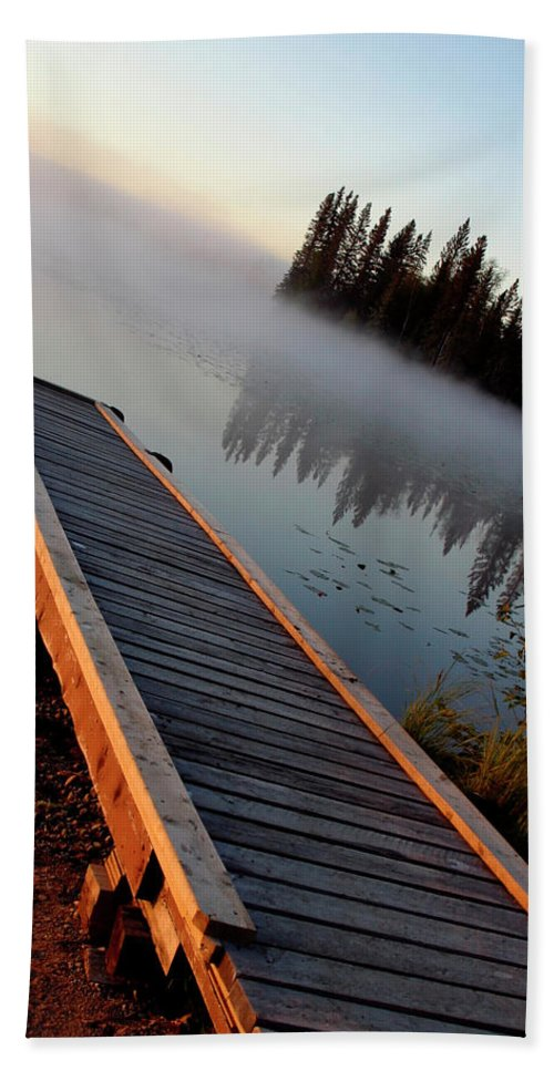Mist Hand Towel featuring the digital art Morning Mist Over Lynx Lake In Northern Saskatchewan by Mark Duffy
