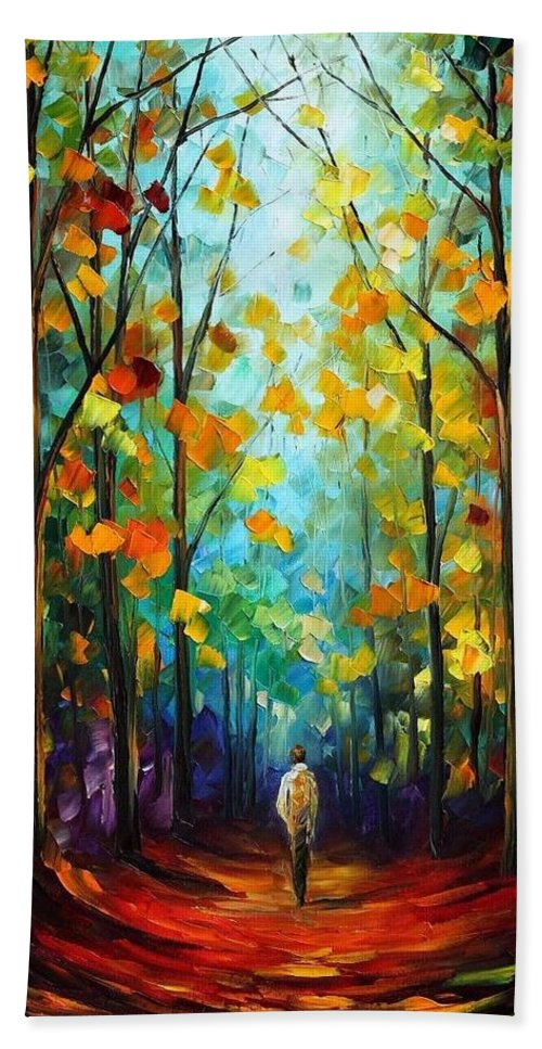 Afremov Hand Towel featuring the painting Morning Mood by Leonid Afremov