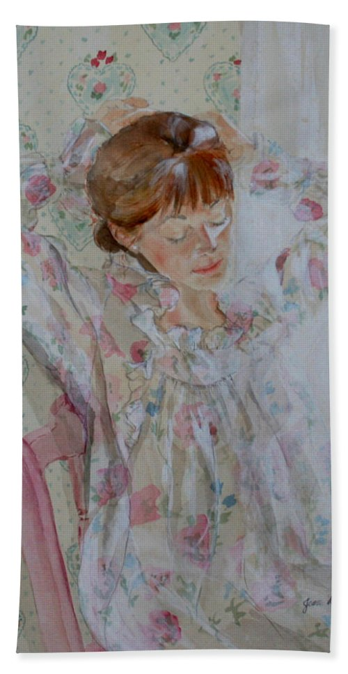 Morning Hand Towel featuring the painting Morning Ritual by Jean Blackmer