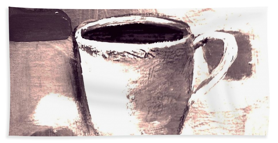 Coffee Bath Sheet featuring the painting Morning Routine by Vesna Antic