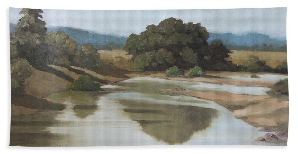 Morning Shadows Bath Sheet featuring the painting Morning Shadows by Mandar Marathe