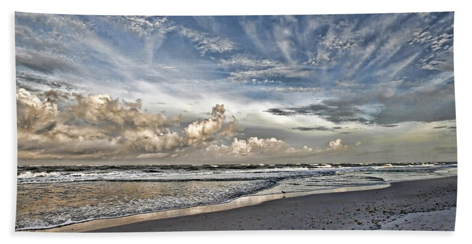 Longboat Key Florida Hand Towel featuring the photograph Morning Sky At The Beach by HH Photography of Florida