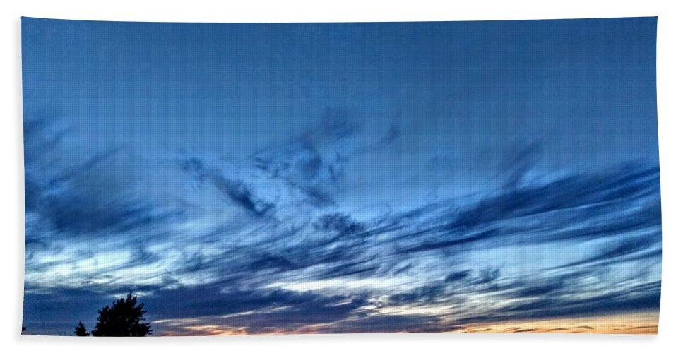 Alaska Bath Sheet featuring the pyrography Morning Sky by Joshua Stoker