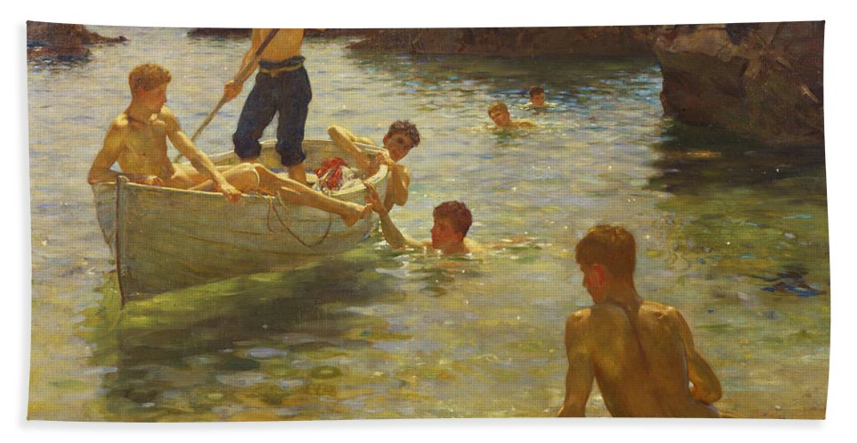 Swimming Hand Towel featuring the painting Morning Splendour by Henry Scott Tuke
