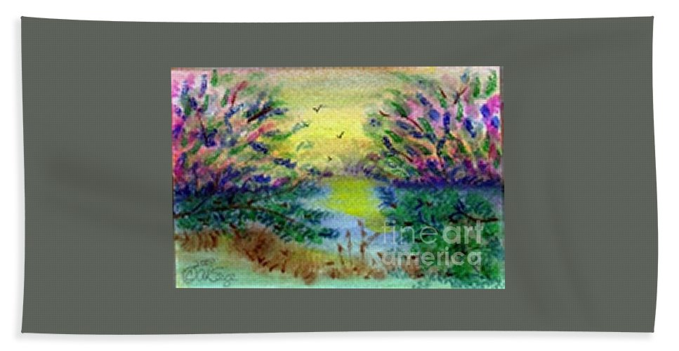Peaceful Bath Sheet featuring the painting Morning Sun by Alanna Sage
