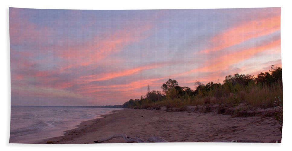 Grand Bend Hand Towel featuring the photograph Morning Sunrise 2 by John Scatcherd