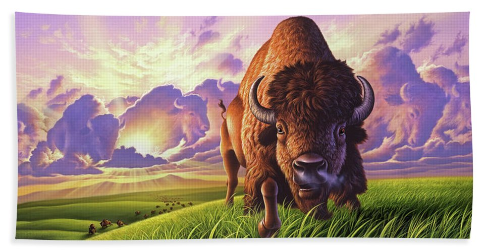 Buffalo Bath Towel featuring the painting Morning Thunder by Jerry LoFaro