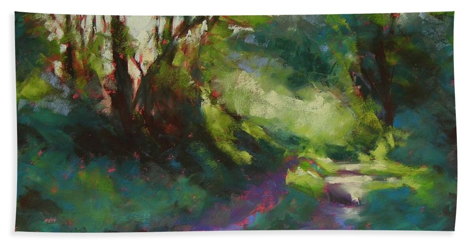 Pastel Bath Towel featuring the painting Morning Walk II by Mary McInnis