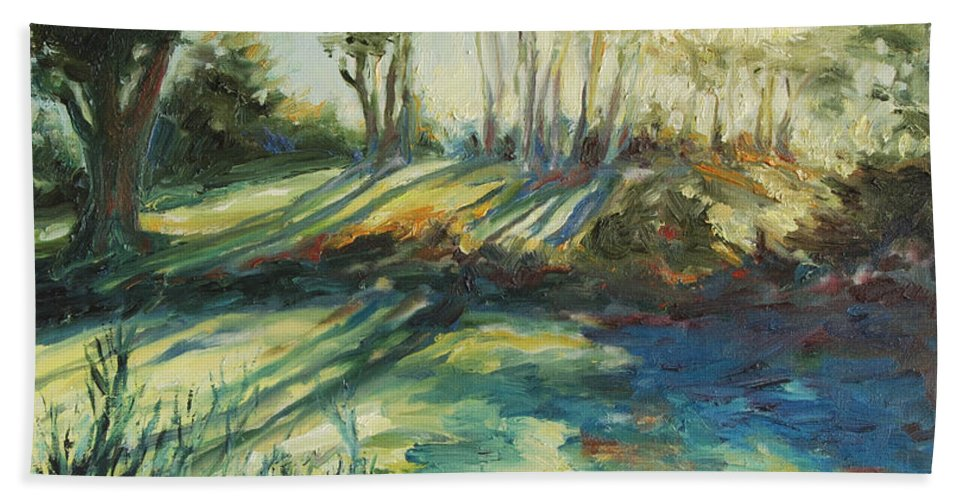 Sunrise Bath Towel featuring the painting Morning Walk by Rick Nederlof