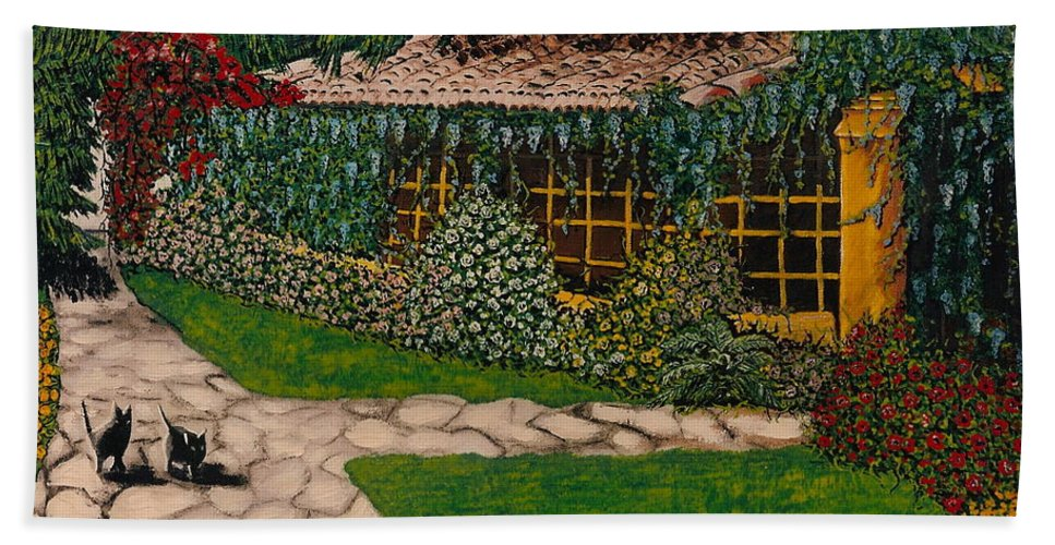 European Hand Towel featuring the painting Morning Walk by V Boge