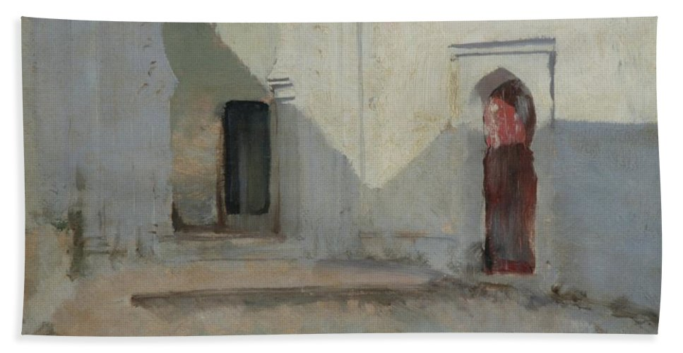 Courtyard Bath Sheet featuring the painting Morocco by John Singer Sargent