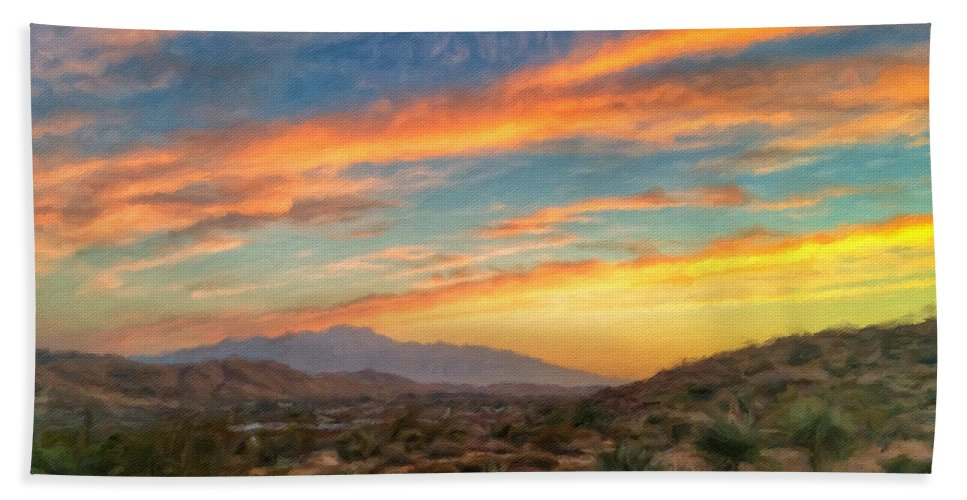 Desert Hand Towel featuring the photograph Morongo Valley Sunset by Snake Jagger