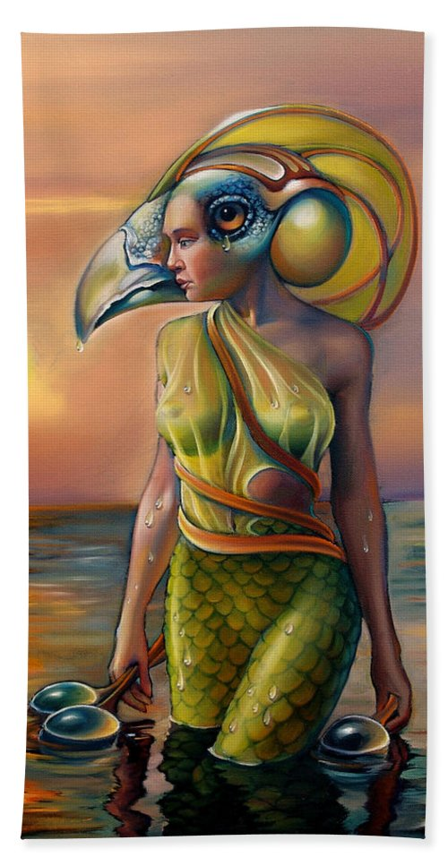Mermaid Hand Towel featuring the painting Morrigan's Mask by Patrick Anthony Pierson