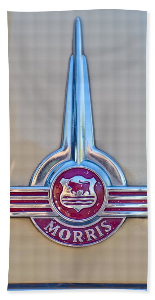 Morris Hood Emblem Hand Towel featuring the photograph Morris Hood Emblem by Jill Reger