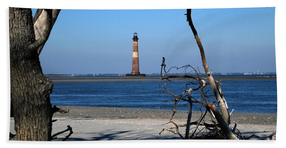 Photography Bath Sheet featuring the photograph Morris Island Lighthouse Charleston Sc by Susanne Van Hulst