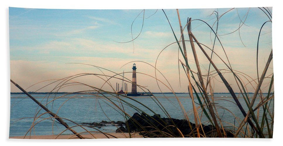 Photography Hand Towel featuring the photograph Morris Island Lighthouse In Charleston Sc by Susanne Van Hulst
