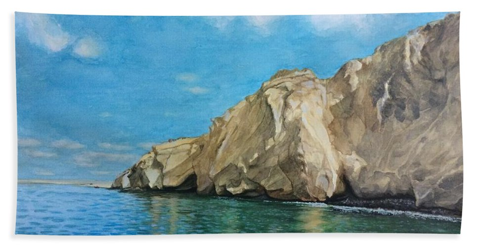 Watercolor Hand Towel featuring the painting Morro Ballena North Of Chile by Carola Moreno