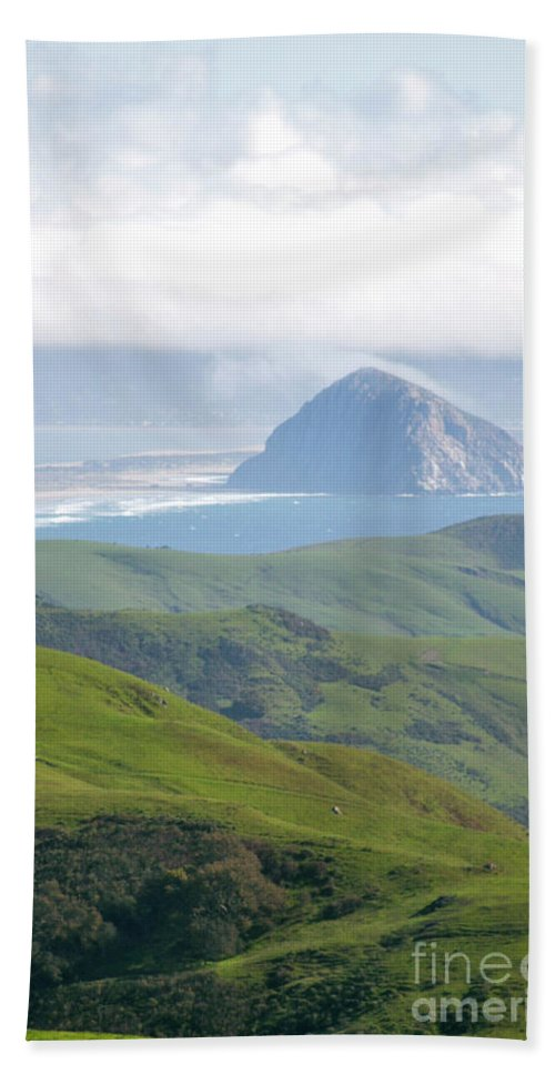 Morro Bay Bath Sheet featuring the photograph Morro Rock by Brooke Roby