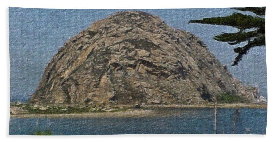California Bath Sheet featuring the painting Morro Rock California Painting by Teresa Mucha