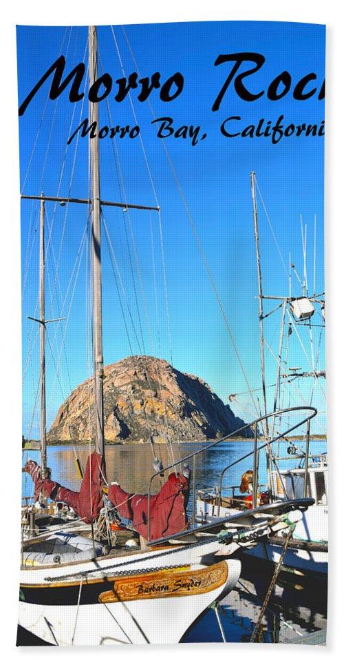 Morro Rock Morro Bay California Hand Towel featuring the painting Morro Rock Morro Bay California by Barbara Snyder
