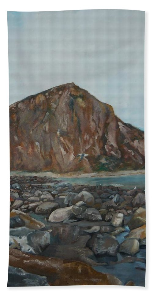 Morro Bay Hand Towel featuring the painting Morro Rock by Travis Day