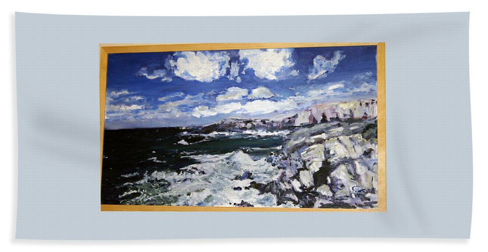 Landscape Hand Towel featuring the painting Morska Energie by Pablo de Choros