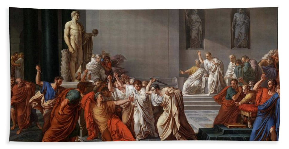 Death Of Caesar Hand Towel featuring the painting Mort De Cesar by Vincenzo Camuccini