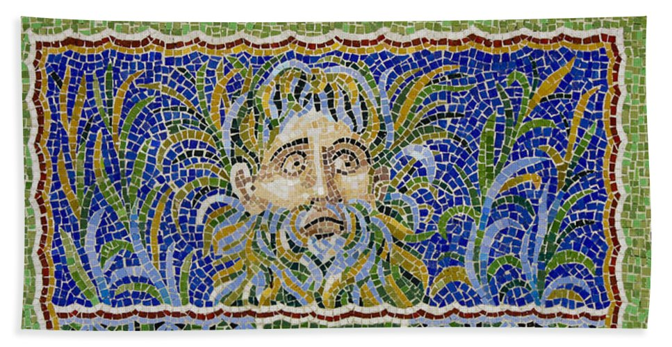 J Paul Getty Hand Towel featuring the photograph Mosaic Fountain Face View 2 by Teresa Mucha
