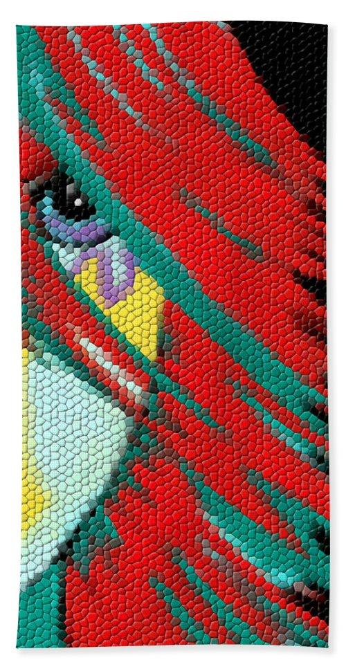 Contemporary Woman Art Bath Sheet featuring the mixed media Mosaic Indie by Kathleen Sartoris