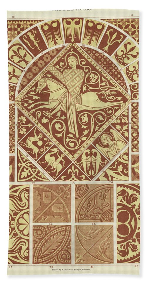 Mosaic Patterns From The Middle Ages Hand Towel for Sale by German ...