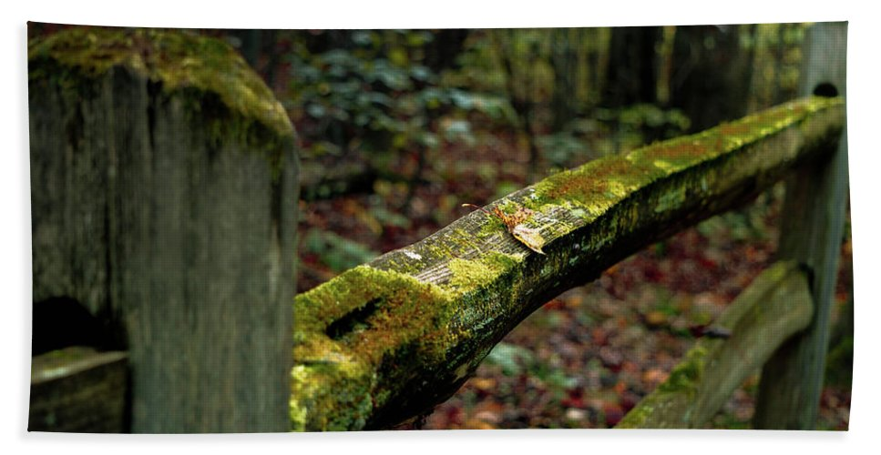Hand Towel featuring the photograph Moss Covered Fence by Jessie Henry