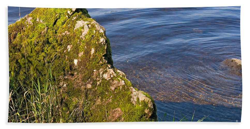 Landscape Hand Towel featuring the photograph Moss Covered Rock And Ripples On The Water by Louise Heusinkveld