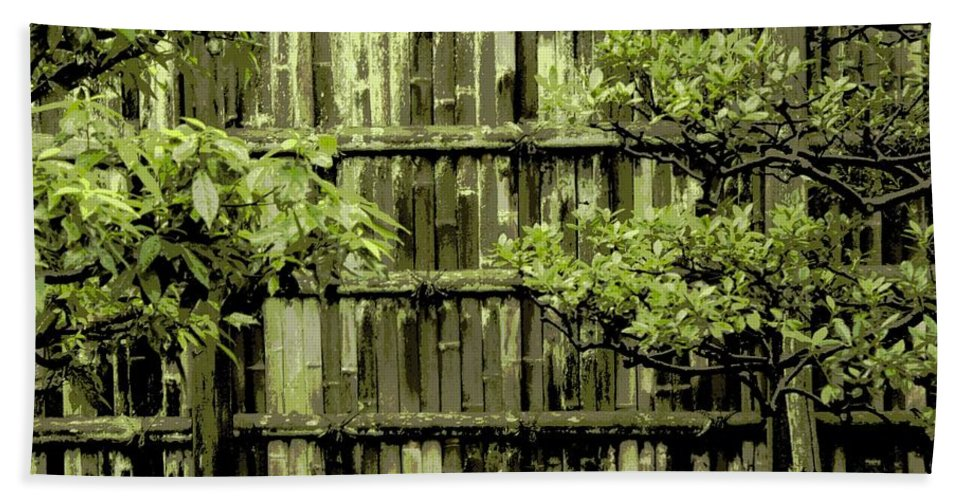 Moss Hand Towel featuring the photograph Mossy Bamboo Fence - Digital Art by Carol Groenen