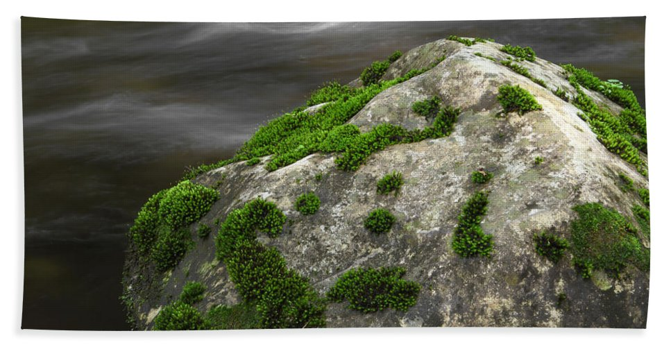 Rock Bath Sheet featuring the photograph Mossy Boulder In Mountain Stream by John Stephens