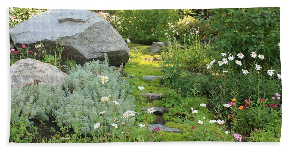 Mossy Path Bath Sheet featuring the photograph Mossy Path In Tahoe by Carol Groenen