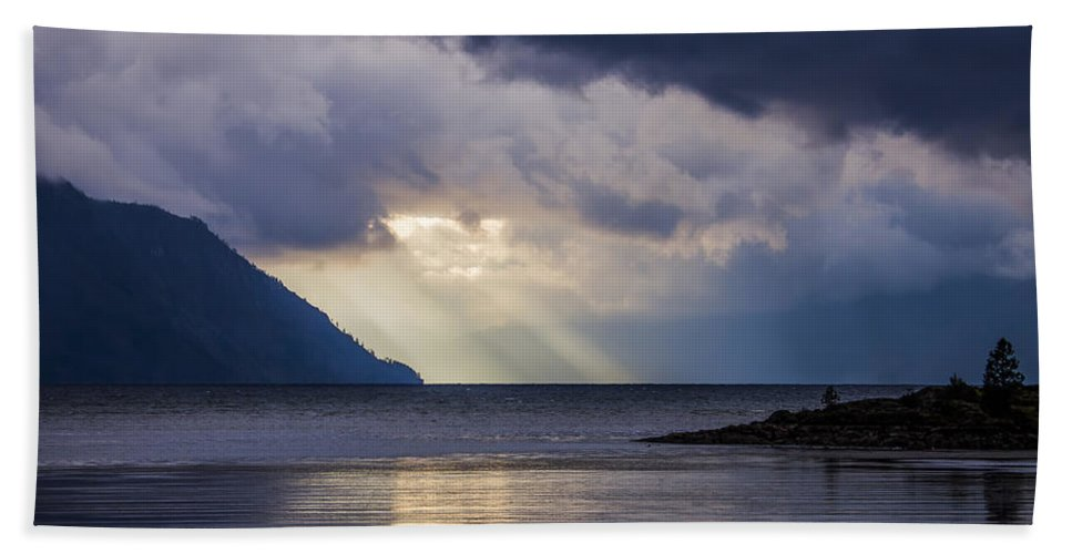 Lake Pend Oreille Hand Towel featuring the photograph Mostly Cloudy With A Few Sunbreaks by Albert Seger