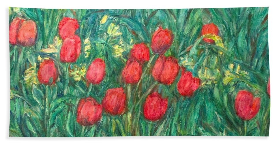 Kendall Kessler Bath Towel featuring the painting Mostly Tulips by Kendall Kessler
