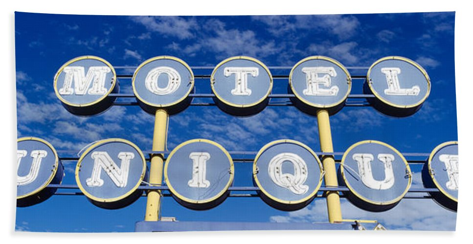 Photography Bath Sheet featuring the photograph Motel Unique Sign Seligman Az by Panoramic Images