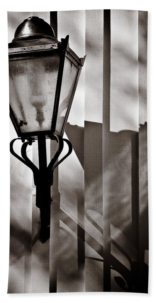 Moth Hand Towel featuring the photograph Moth And Lamp by Dave Bowman