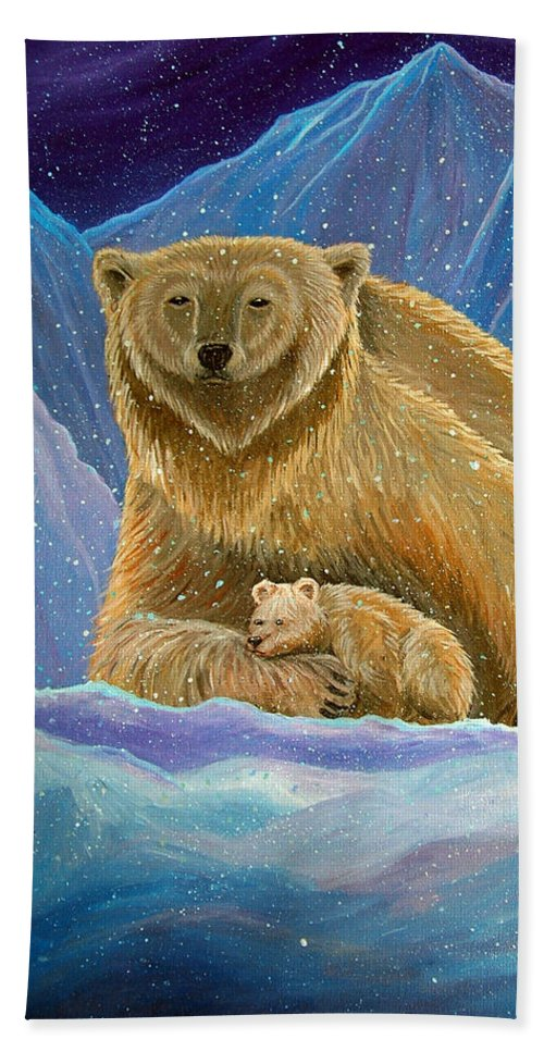 Polar Bear Hand Towel featuring the painting Mother And Baby Polar Bears by Nick Gustafson
