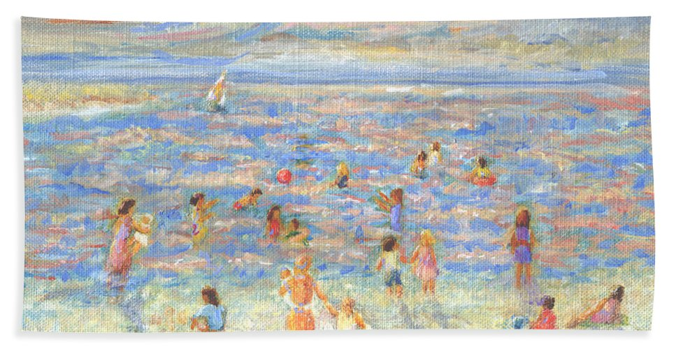 Mother And Child Bath Sheet featuring the painting Mother And Child At The Beach by Pamela Parsons
