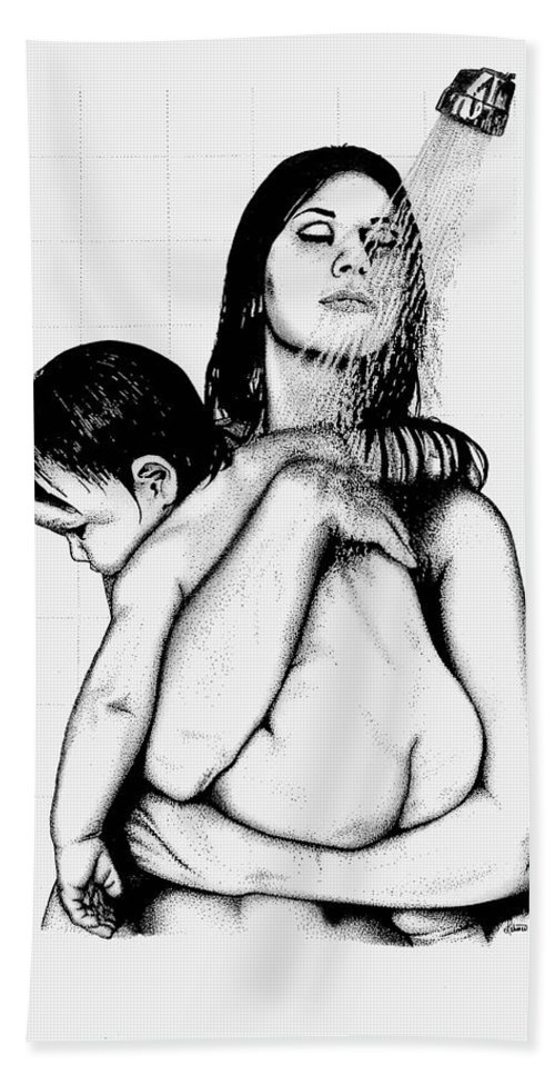Mother And Child Bath Sheet featuring the drawing Mother And Child by Larry Lehman