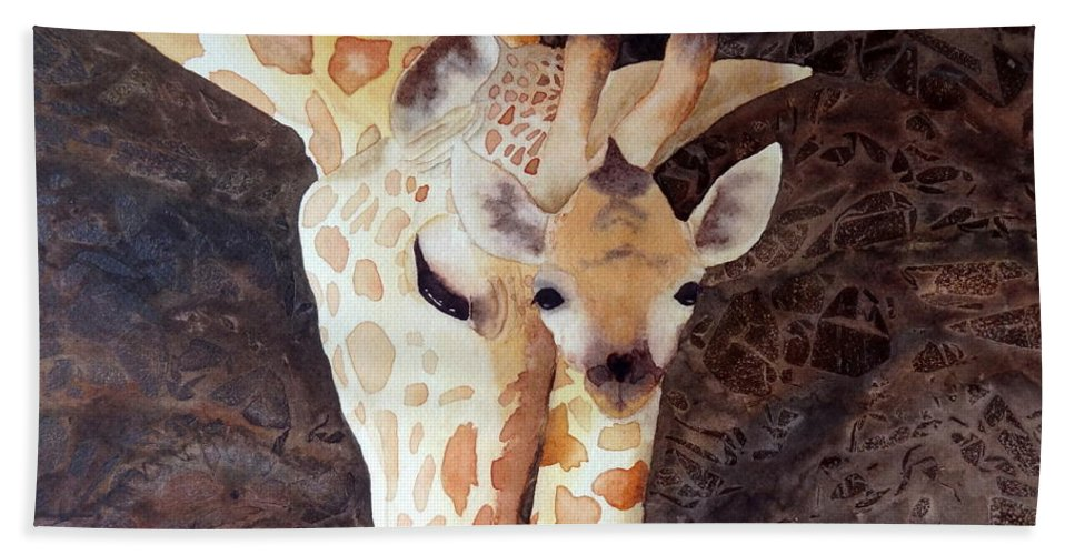 Giraffe Hand Towel featuring the painting Mother And Child by Laurel Best