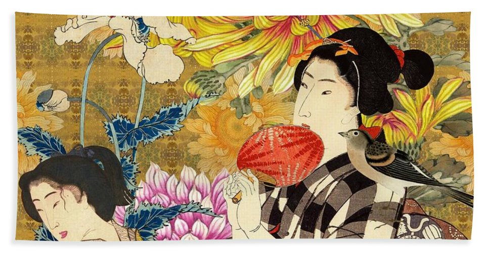 Japanese Bath Towel featuring the digital art Mother and Daughter by Laura Botsford