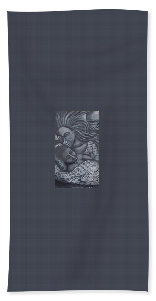Mother Taking Care Of Child Bath Towel featuring the painting Mother And Son by Andrew Johnson