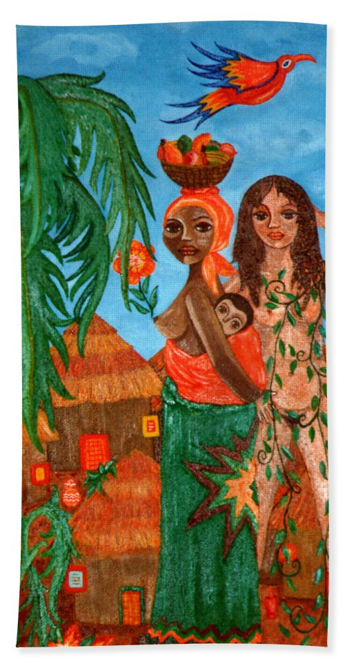 Mother Bath Towel featuring the painting Mother Black Mother White by Madalena Lobao-Tello