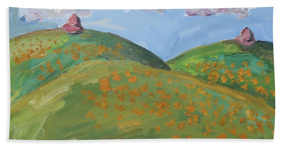Mother Hand Towel featuring the painting Mother Nature With Poppies by John Kilduff