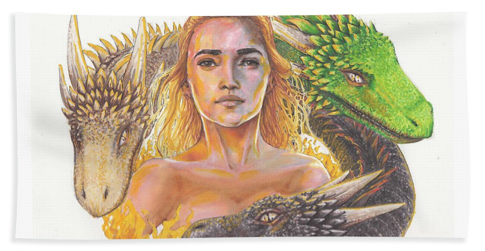Game Of Thrones Hand Towel featuring the mixed media Mother Of Dragons by Emma Olsen