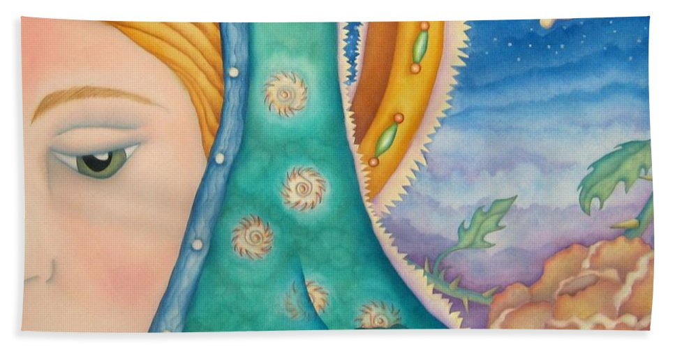 Texas Hand Towel featuring the painting Mother Of My Soul by Jeniffer Stapher-Thomas