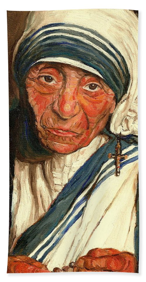 Mother Teresa Bath Towel featuring the painting Mother Teresa by Carole Spandau